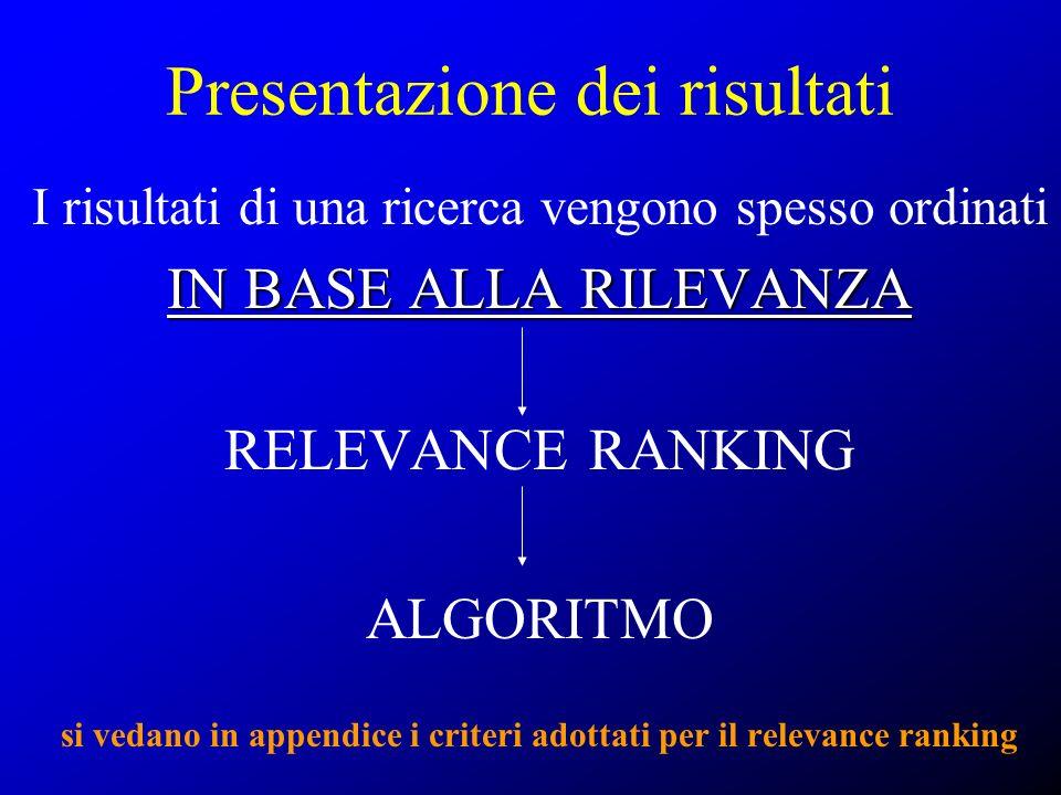 Presentazione dei risultati I risultati di una ricerca vengono spesso ordinati IN BASE ALLA RILEVANZA RELEVANCE RANKING ALGORITMO si vedano in appendi