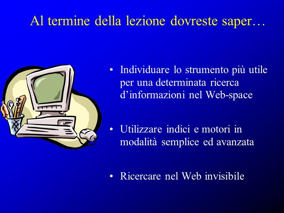 Al termine della lezione dovreste saper… Individuare lo strumento più utile per una determinata ricerca dinformazioni nel Web-space Utilizzare indici