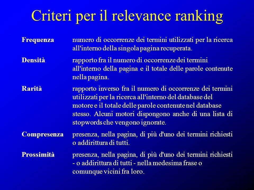 Criteri per il relevance ranking Frequenza numero di occorrenze dei termini utilizzati per la ricerca all'interno della singola pagina recuperata. Den