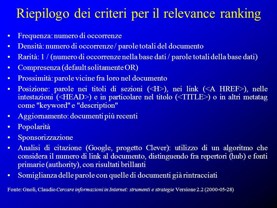 Riepilogo dei criteri per il relevance ranking Frequenza: numero di occorrenze Densità: numero di occorrenze / parole totali del documento Rarità: 1 /
