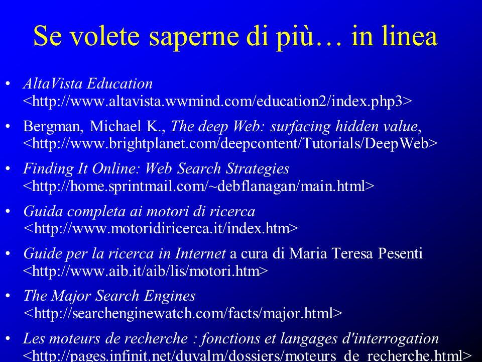 Se volete saperne di più… in linea AltaVista Education Bergman, Michael K., The deep Web: surfacing hidden value, Finding It Online: Web Search Strate