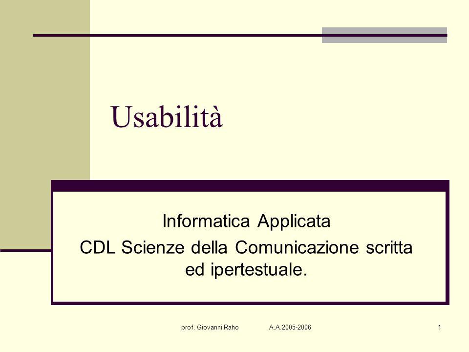 prof. Giovanni Raho A.A.2005-20061 Usabilità Informatica Applicata CDL Scienze della Comunicazione scritta ed ipertestuale.