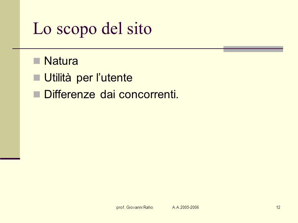 prof. Giovanni Raho A.A.2005-200612 Lo scopo del sito Natura Utilità per lutente Differenze dai concorrenti.