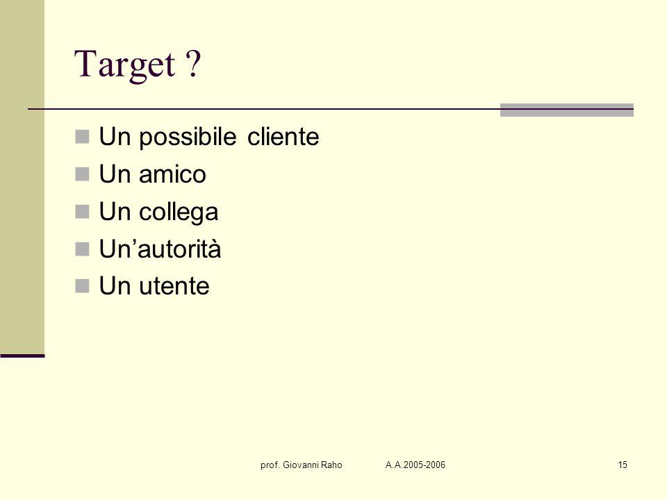 prof. Giovanni Raho A.A.2005-200615 Target ? Un possibile cliente Un amico Un collega Unautorità Un utente