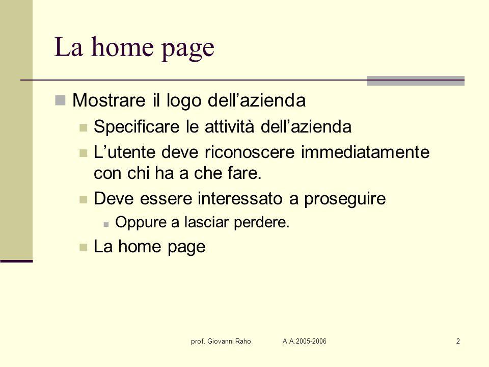 prof. Giovanni Raho A.A.2005-20062 La home page Mostrare il logo dellazienda Specificare le attività dellazienda Lutente deve riconoscere immediatamen