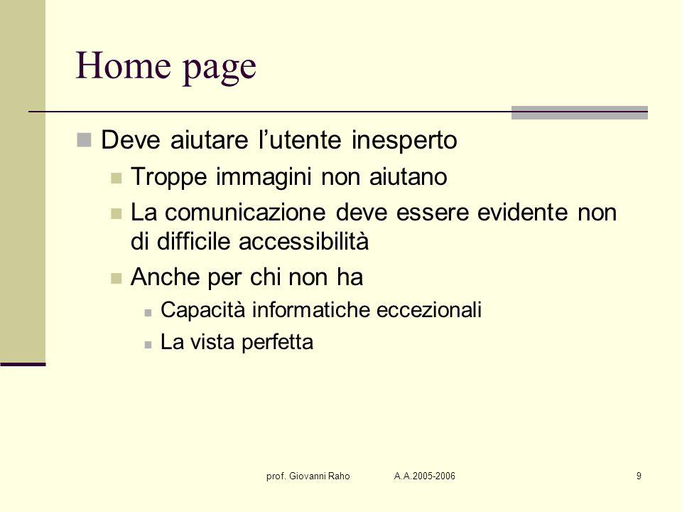 prof. Giovanni Raho A.A.2005-20069 Home page Deve aiutare lutente inesperto Troppe immagini non aiutano La comunicazione deve essere evidente non di d