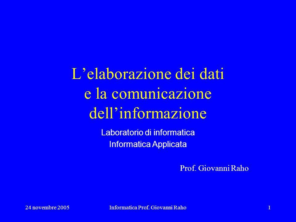 24 novembre 2005Informatica Prof. Giovanni Raho1 Lelaborazione dei dati e la comunicazione dellinformazione Laboratorio di informatica Informatica App