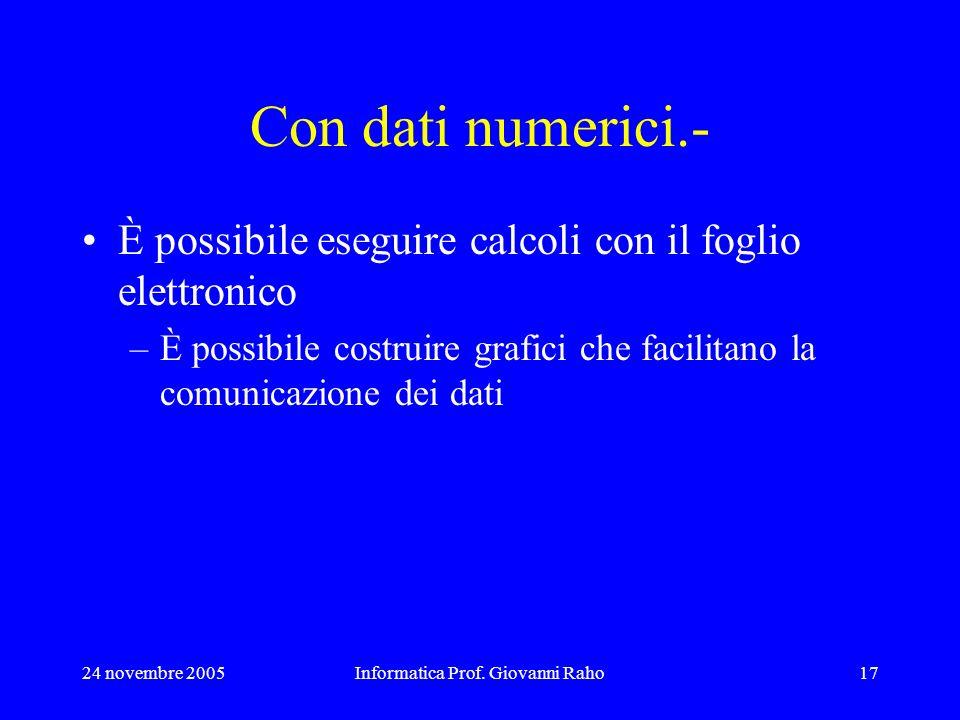 24 novembre 2005Informatica Prof. Giovanni Raho17 Con dati numerici.- È possibile eseguire calcoli con il foglio elettronico –È possibile costruire gr