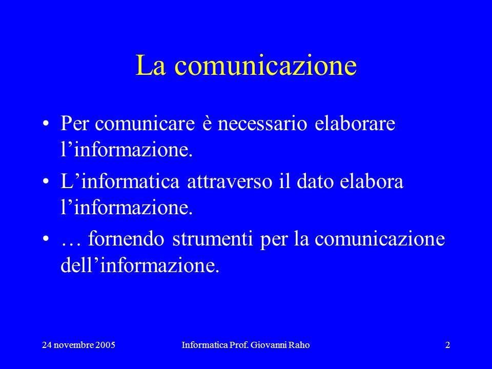 24 novembre 2005Informatica Prof. Giovanni Raho2 La comunicazione Per comunicare è necessario elaborare linformazione. Linformatica attraverso il dato