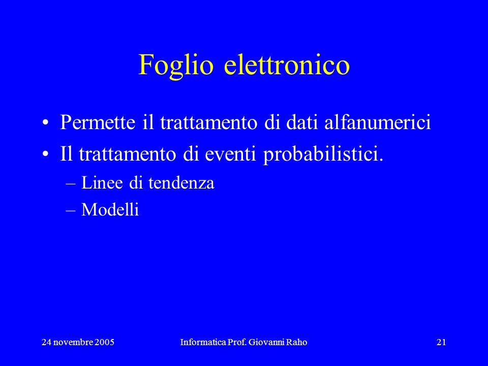 24 novembre 2005Informatica Prof. Giovanni Raho21 Foglio elettronico Permette il trattamento di dati alfanumerici Il trattamento di eventi probabilist
