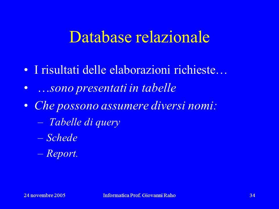 24 novembre 2005Informatica Prof. Giovanni Raho34 Database relazionale I risultati delle elaborazioni richieste… …sono presentati in tabelle Che posso