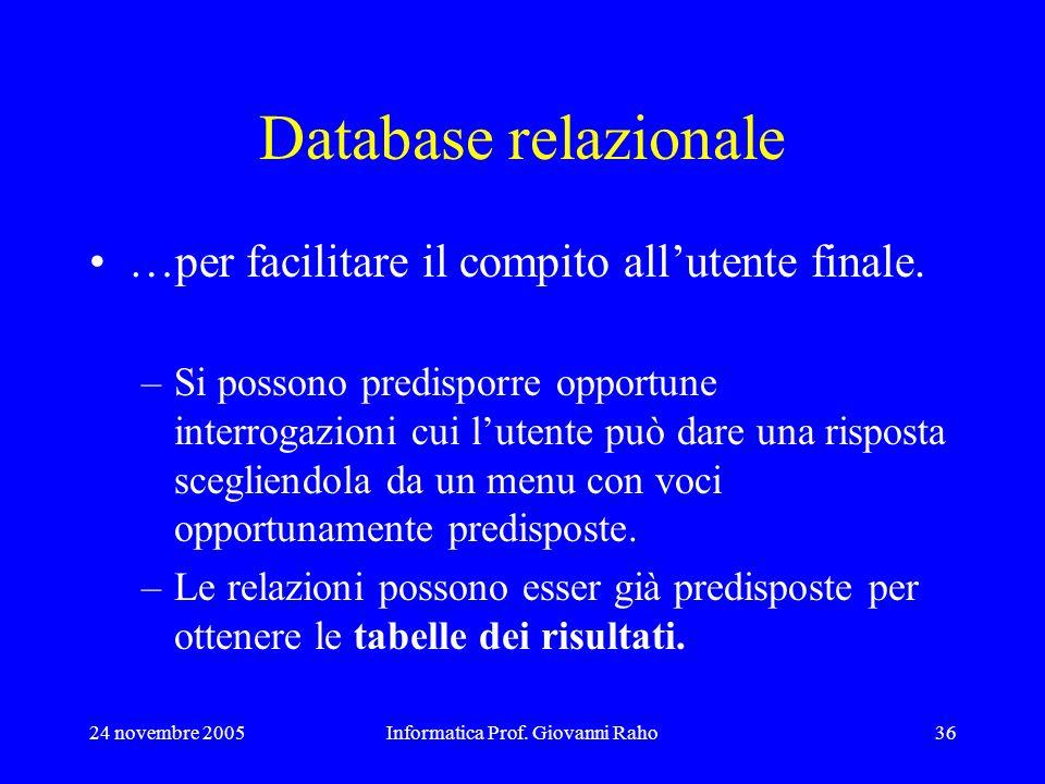24 novembre 2005Informatica Prof. Giovanni Raho36 Database relazionale …per facilitare il compito allutente finale. –Si possono predisporre opportune