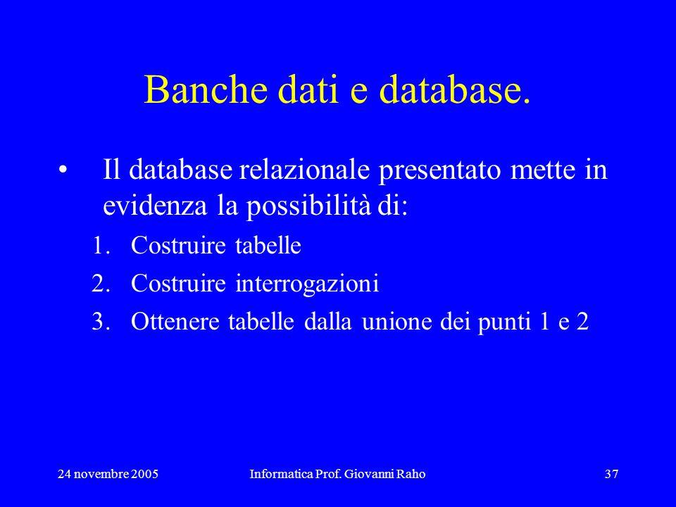 24 novembre 2005Informatica Prof. Giovanni Raho37 Banche dati e database. Il database relazionale presentato mette in evidenza la possibilità di: 1.Co