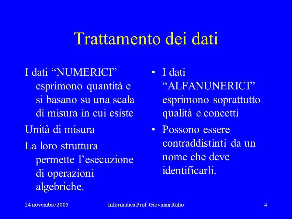 24 novembre 2005Informatica Prof. Giovanni Raho4 Trattamento dei dati I dati NUMERICI esprimono quantità e si basano su una scala di misura in cui esi