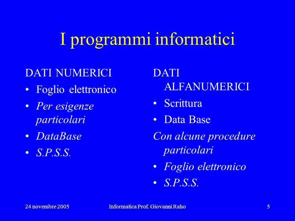 24 novembre 2005Informatica Prof. Giovanni Raho5 I programmi informatici DATI NUMERICI Foglio elettronico Per esigenze particolari DataBase S.P.S.S. D