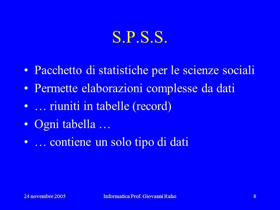 24 novembre 2005Informatica Prof. Giovanni Raho8 S.P.S.S. Pacchetto di statistiche per le scienze sociali Permette elaborazioni complesse da dati … ri
