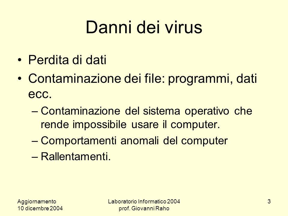 Aggiornamento 10 dicembre 2004 Laboratorio Informatico 2004 prof.