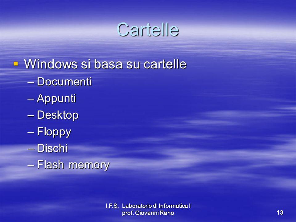 I.F.S. Laboratorio di Informatica I prof. Giovanni Raho13 Cartelle Windows si basa su cartelle Windows si basa su cartelle –Documenti –Appunti –Deskto