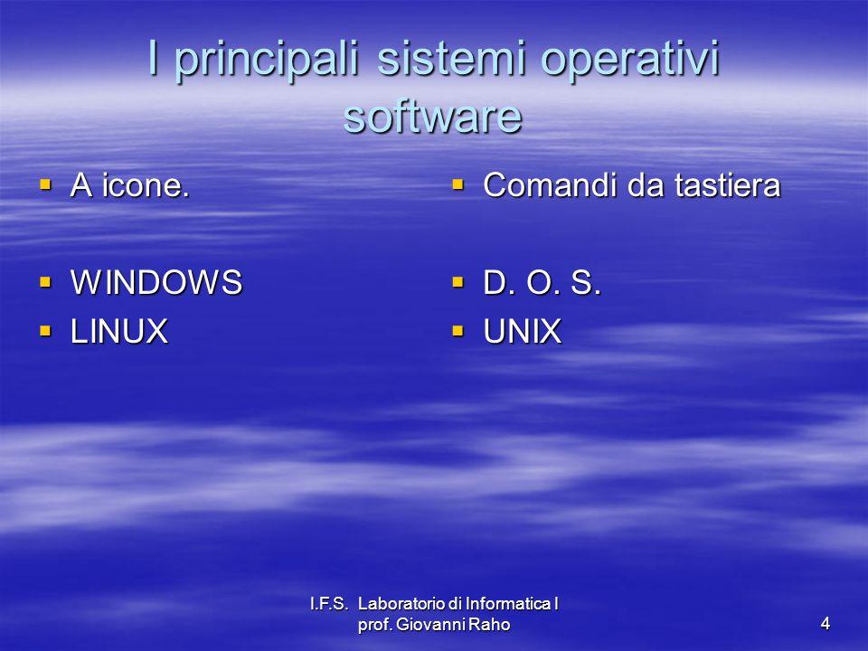 I.F.S. Laboratorio di Informatica I prof. Giovanni Raho4 I principali sistemi operativi software A icone. A icone. WINDOWS WINDOWS LINUX LINUX Comandi