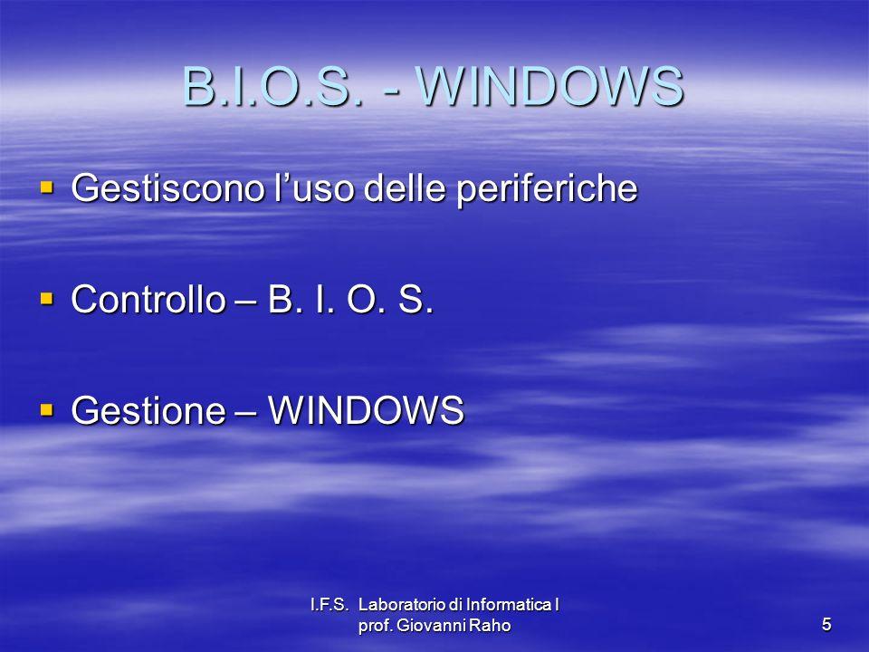 I.F.S. Laboratorio di Informatica I prof. Giovanni Raho5 B.I.O.S. - WINDOWS Gestiscono luso delle periferiche Gestiscono luso delle periferiche Contro