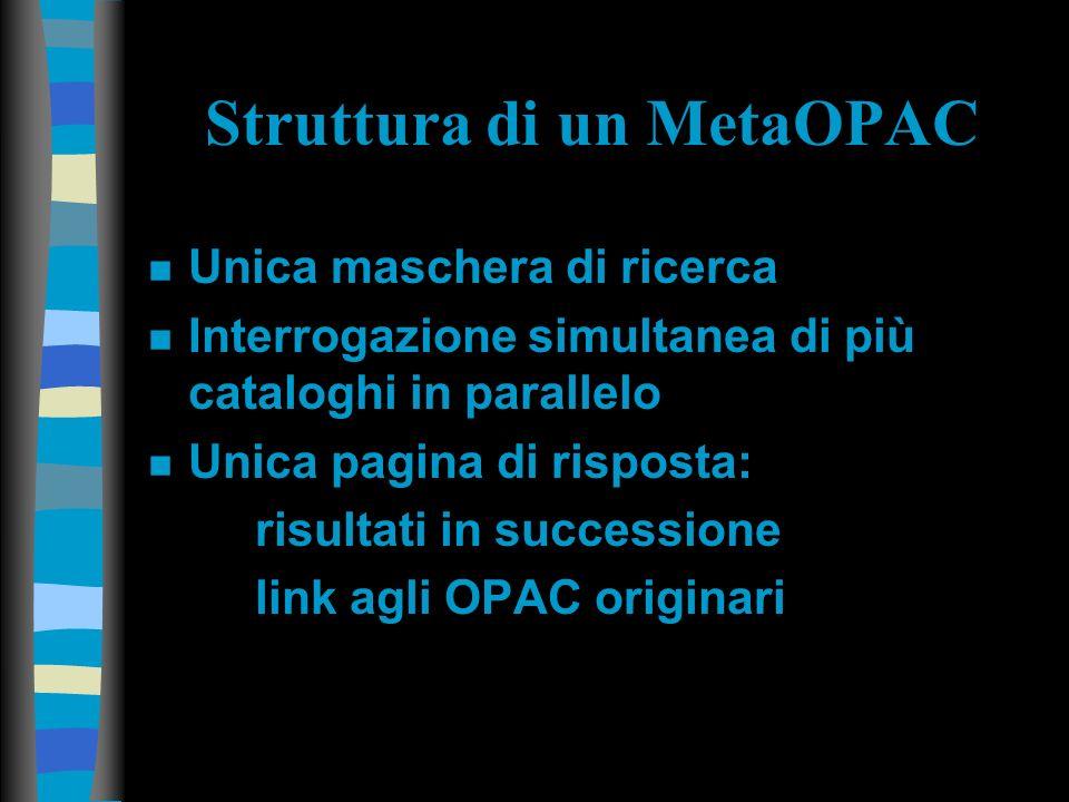 Struttura di un MetaOPAC n Unica maschera di ricerca n Interrogazione simultanea di più cataloghi in parallelo n Unica pagina di risposta: risultati in successione link agli OPAC originari