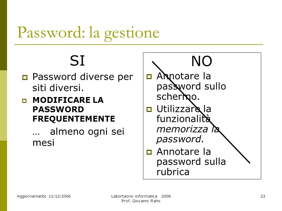 Aggiornamanto 11/12/2006Labortaorio informatica 2006 Prof. Giovanni Raho 23 Password: la gestione SI Password diverse per siti diversi. MODIFICARE LA