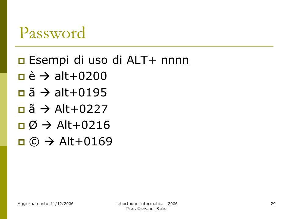 Aggiornamanto 11/12/2006Labortaorio informatica 2006 Prof. Giovanni Raho 29 Password Esempi di uso di ALT+ nnnn è alt+0200 ã alt+0195 ã Alt+0227 Ø Alt