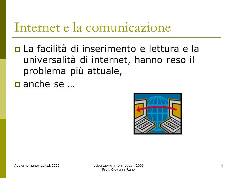 Aggiornamanto 11/12/2006Labortaorio informatica 2006 Prof. Giovanni Raho 55 I VIRUS !