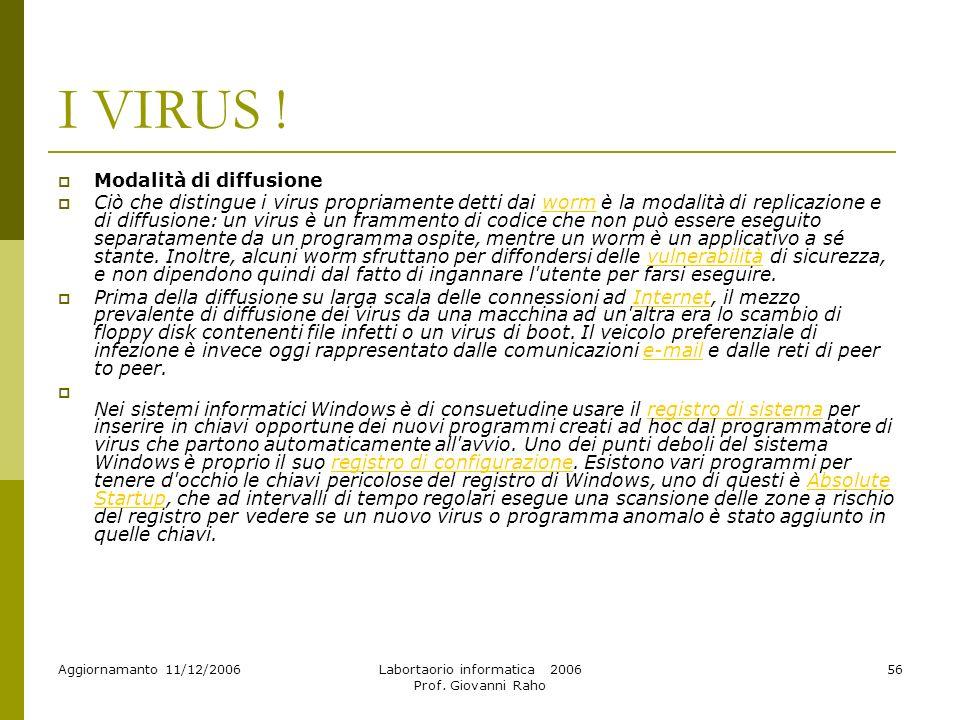 Aggiornamanto 11/12/2006Labortaorio informatica 2006 Prof.
