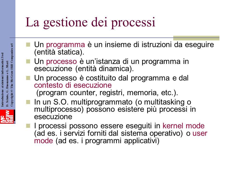 La gestione dei processi Un programma è un insieme di istruzioni da eseguire (entità statica). Un processo è unistanza di un programma in esecuzione (