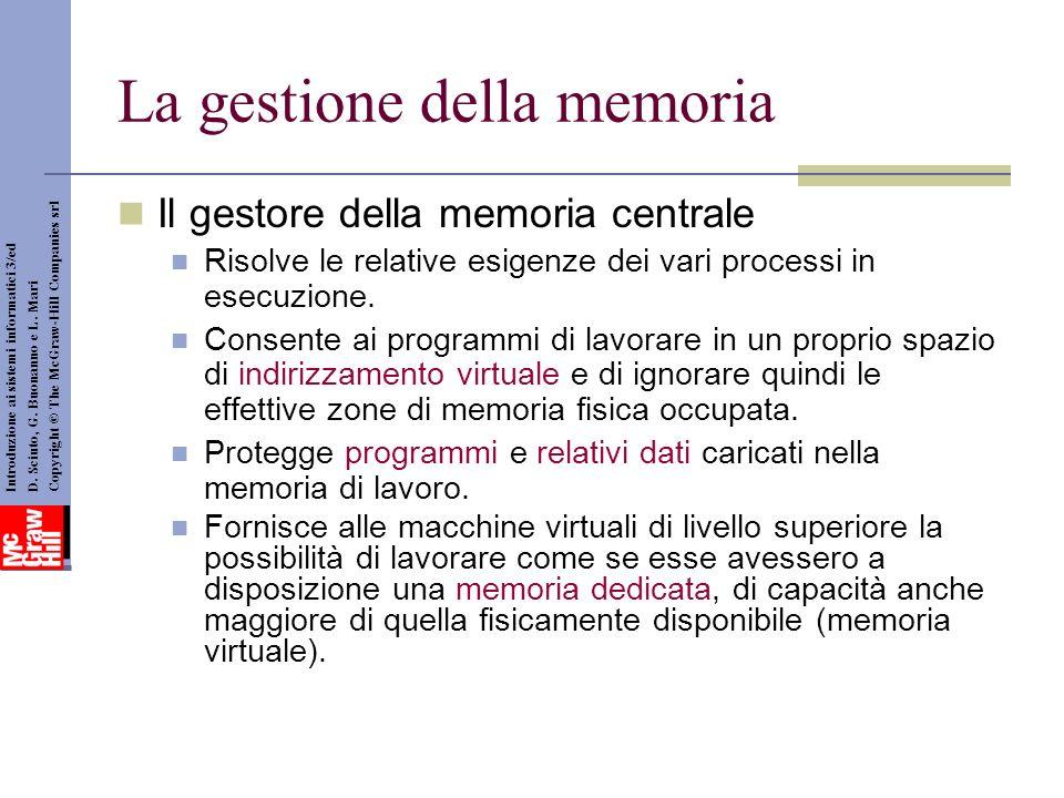 La gestione della memoria Il gestore della memoria centrale Risolve le relative esigenze dei vari processi in esecuzione. Consente ai programmi di lav
