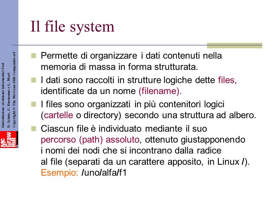 Il file system Permette di organizzare i dati contenuti nella memoria di massa in forma strutturata. I dati sono raccolti in strutture logiche dette f