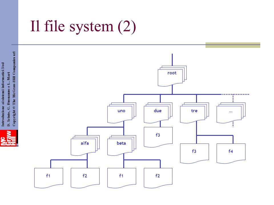 Il file system (2) uno root duetre… alfabeta f1f2f1f2 f3 f4 Introduzione ai sistemi informatici 3/ed D. Sciuto, G. Buonanno e L. Mari Copyright © The
