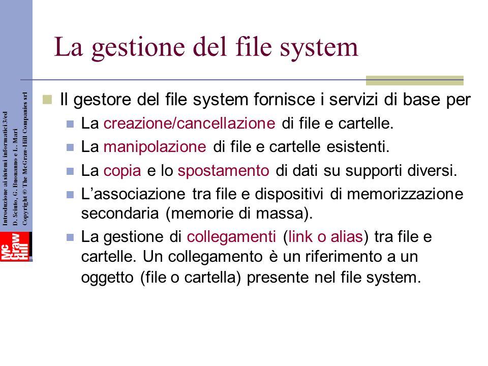 La gestione del file system Il gestore del file system fornisce i servizi di base per La creazione/cancellazione di file e cartelle. La manipolazione
