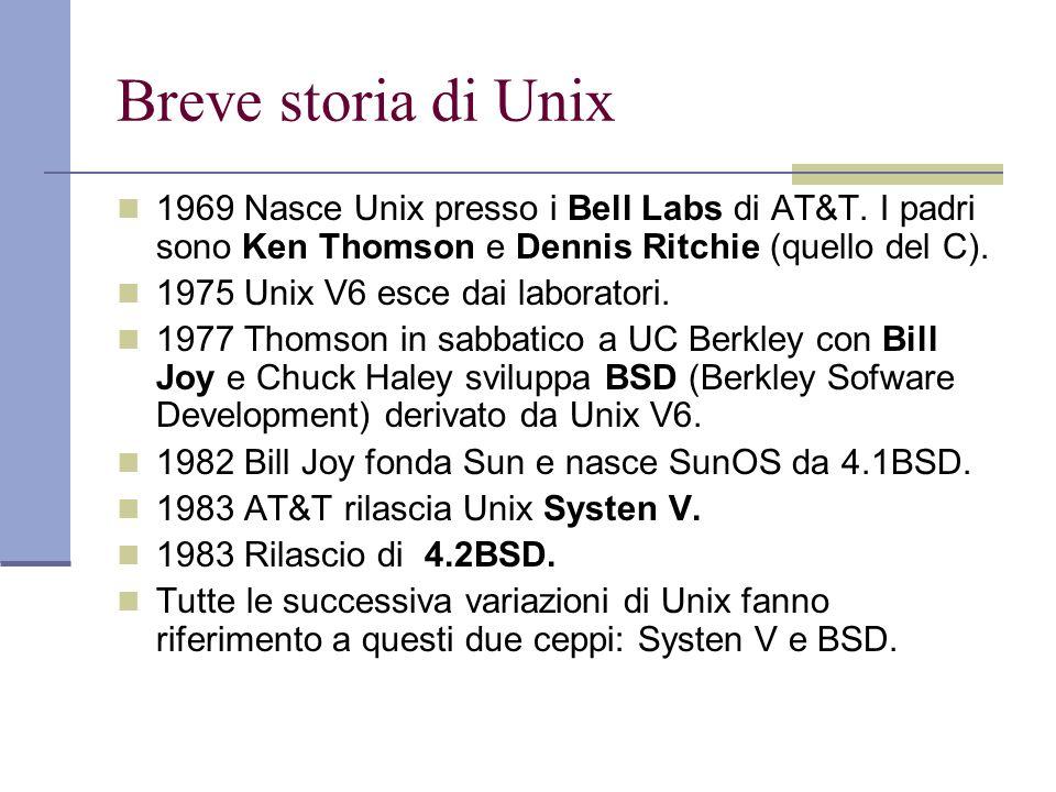 Breve storia di Unix 1969 Nasce Unix presso i Bell Labs di AT&T. I padri sono Ken Thomson e Dennis Ritchie (quello del C). 1975 Unix V6 esce dai labor