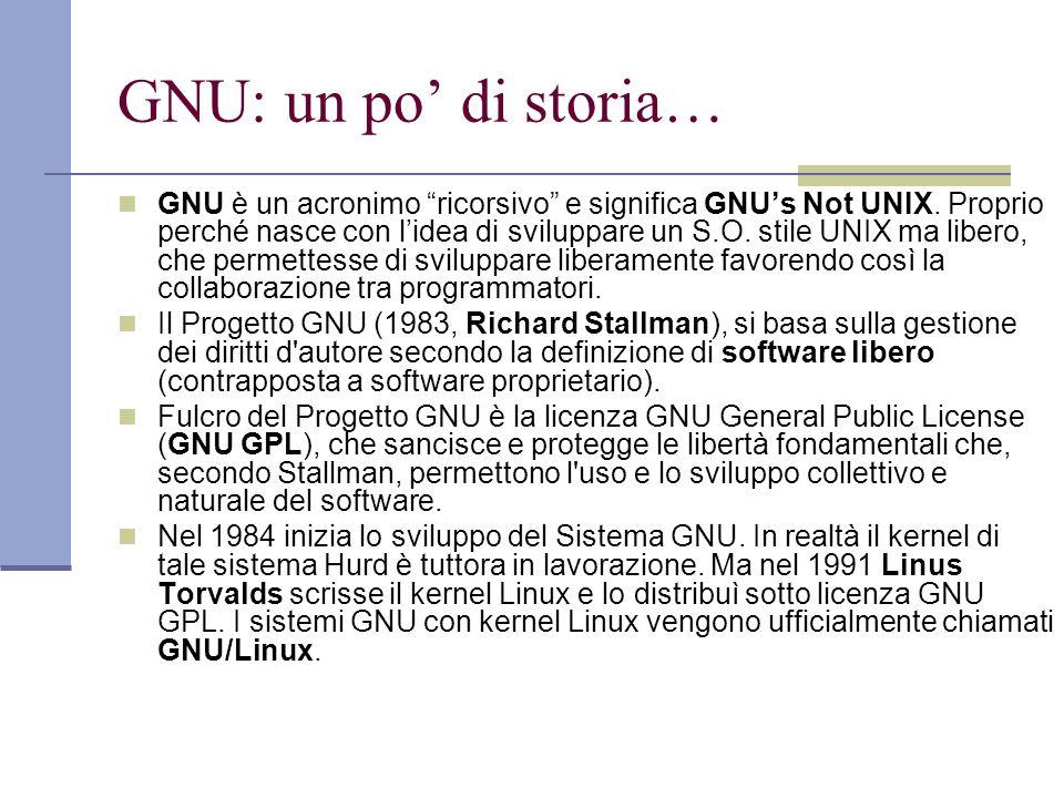GNU: un po di storia… GNU è un acronimo ricorsivo e significa GNUs Not UNIX. Proprio perché nasce con lidea di sviluppare un S.O. stile UNIX ma libero