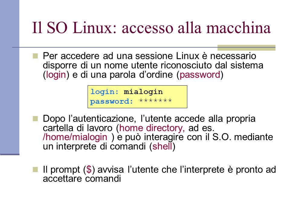 Il SO Linux: accesso alla macchina Per accedere ad una sessione Linux è necessario disporre di un nome utente riconosciuto dal sistema (login) e di un