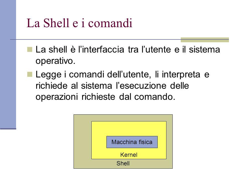La Shell e i comandi La shell è linterfaccia tra lutente e il sistema operativo. Legge i comandi dellutente, li interpreta e richiede al sistema lesec