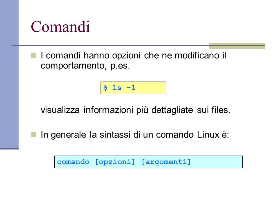 I comandi hanno opzioni che ne modificano il comportamento, p.es. visualizza informazioni più dettagliate sui files. In generale la sintassi di un com