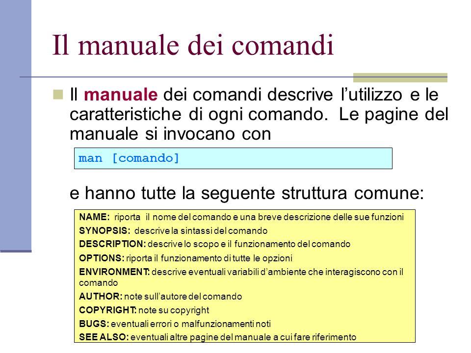 Il manuale dei comandi Il manuale dei comandi descrive lutilizzo e le caratteristiche di ogni comando. Le pagine del manuale si invocano con e hanno t