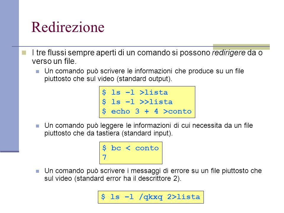 Redirezione I tre flussi sempre aperti di un comando si possono redirigere da o verso un file. Un comando può scrivere le informazioni che produce su