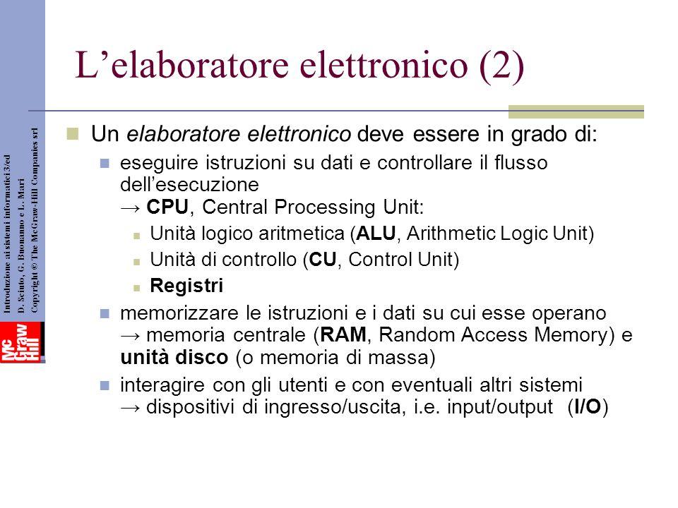 Lelaboratore elettronico (2) Introduzione ai sistemi informatici 3/ed D. Sciuto, G. Buonanno e L. Mari Copyright © The McGraw-Hill Companies srl Un el