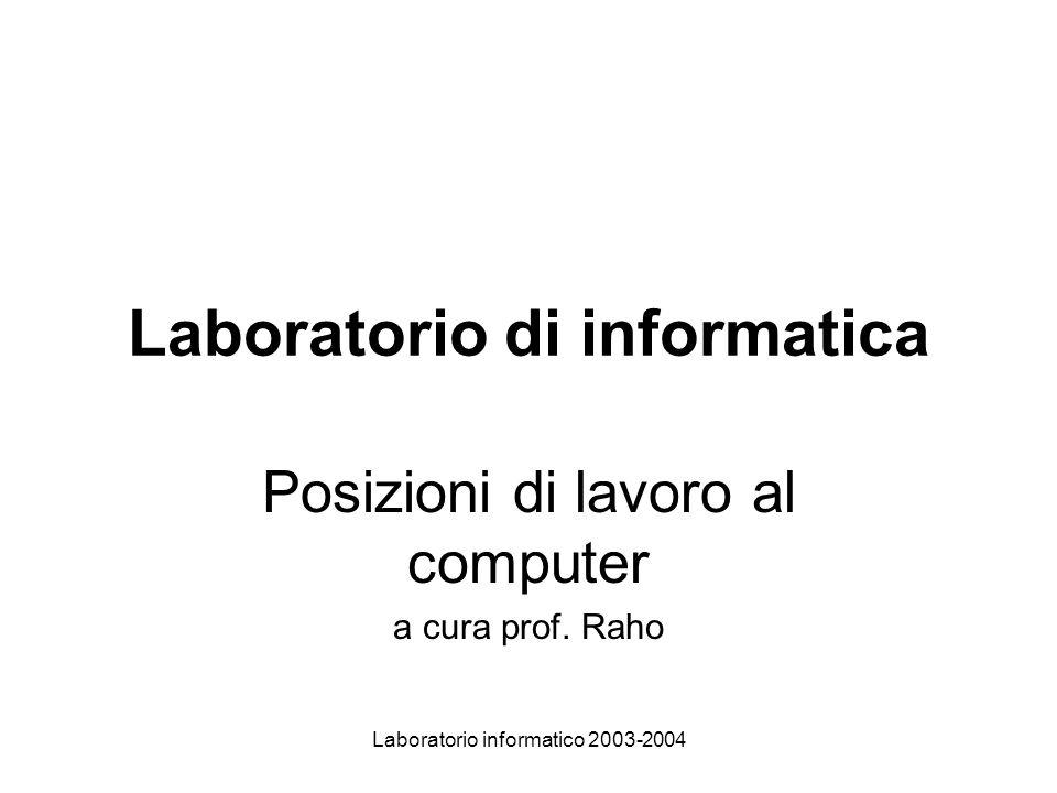 Laboratorio informatico 2003-2004 Laboratorio di informatica Posizioni di lavoro al computer a cura prof.