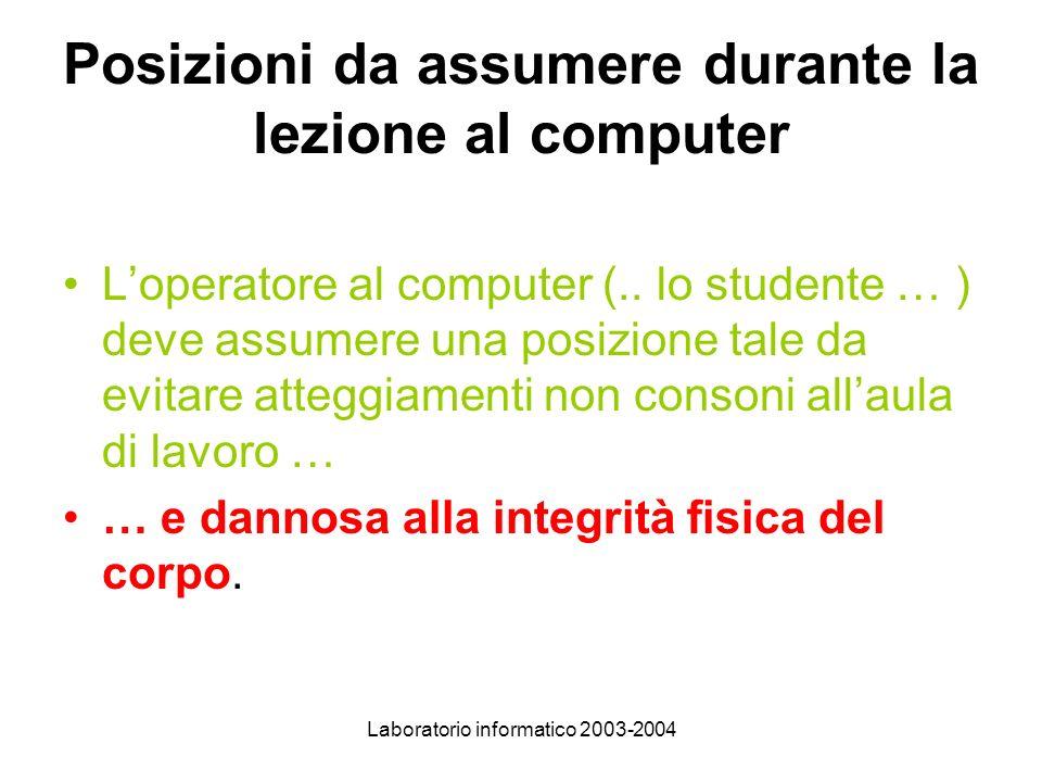 Laboratorio informatico 2003-2004 Posizioni da assumere durante la lezione al computer Loperatore al computer (..
