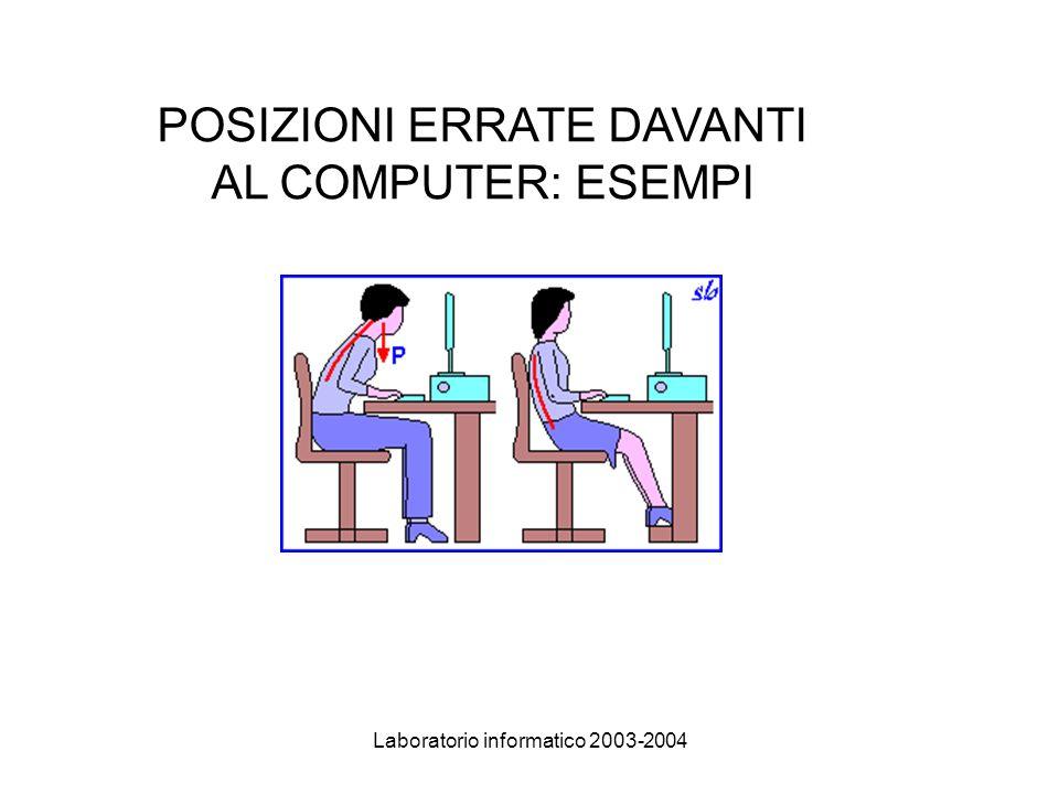Laboratorio informatico 2003-2004 POSIZIONI ERRATE DAVANTI AL COMPUTER: ESEMPI