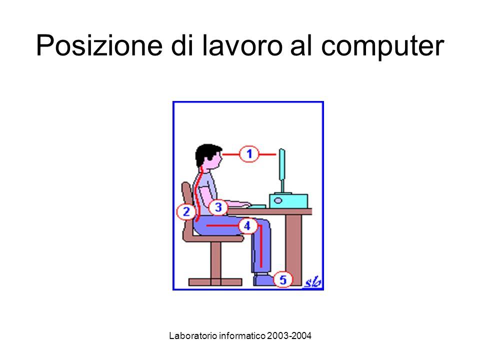Laboratorio informatico 2003-2004 Posizione di lavoro al computer
