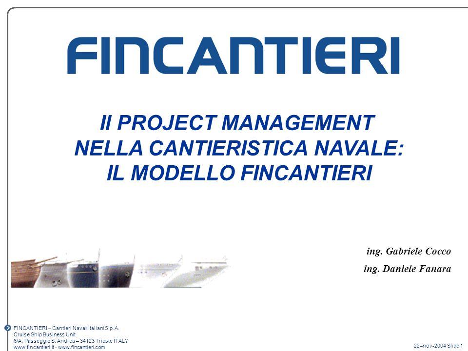 22–nov-2004 Slide 1 FINCANTIERI – Cantieri Navali Italiani S.p.A. Cruise Ship Business Unit 6/A, Passeggio S. Andrea – 34123 Trieste ITALY www.fincant