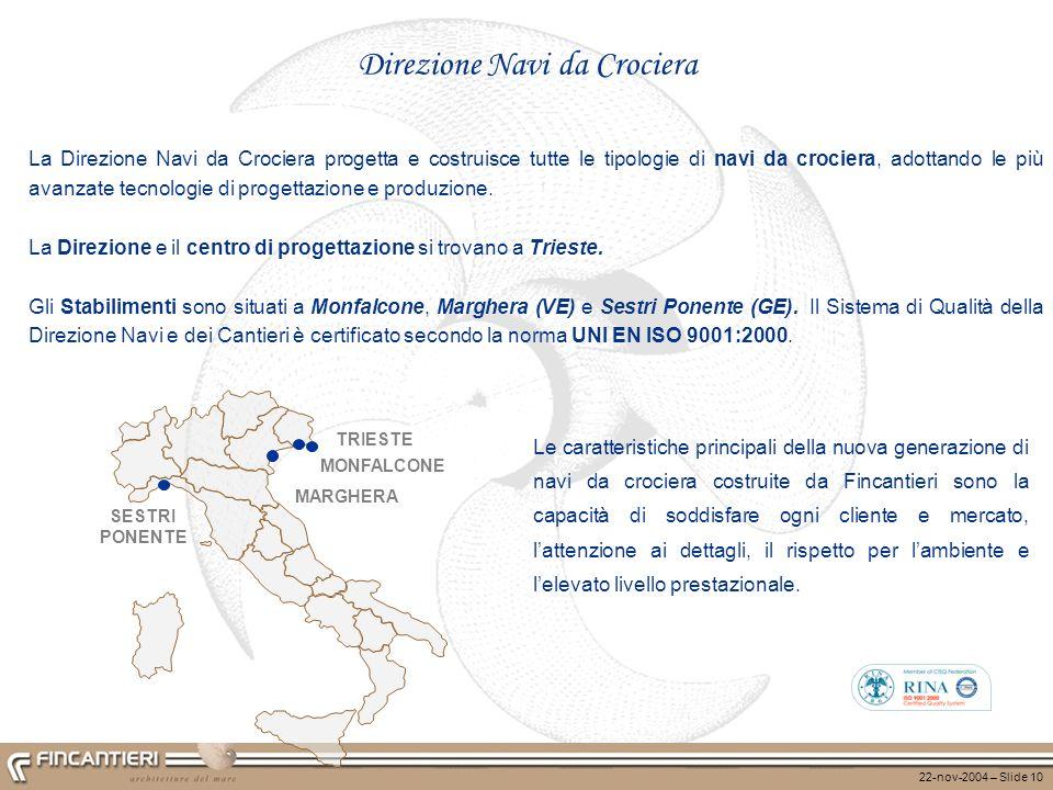22-nov-2004 – Slide 10 Direzione Navi da Crociera La Direzione Navi da Crociera progetta e costruisce tutte le tipologie di navi da crociera, adottand