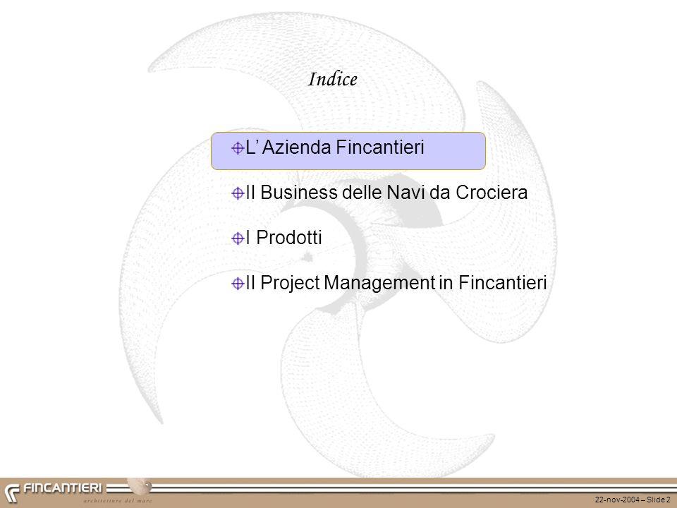 22-nov-2004 – Slide 2 Indice L Azienda Fincantieri Il Business delle Navi da Crociera I Prodotti Il Project Management in Fincantieri