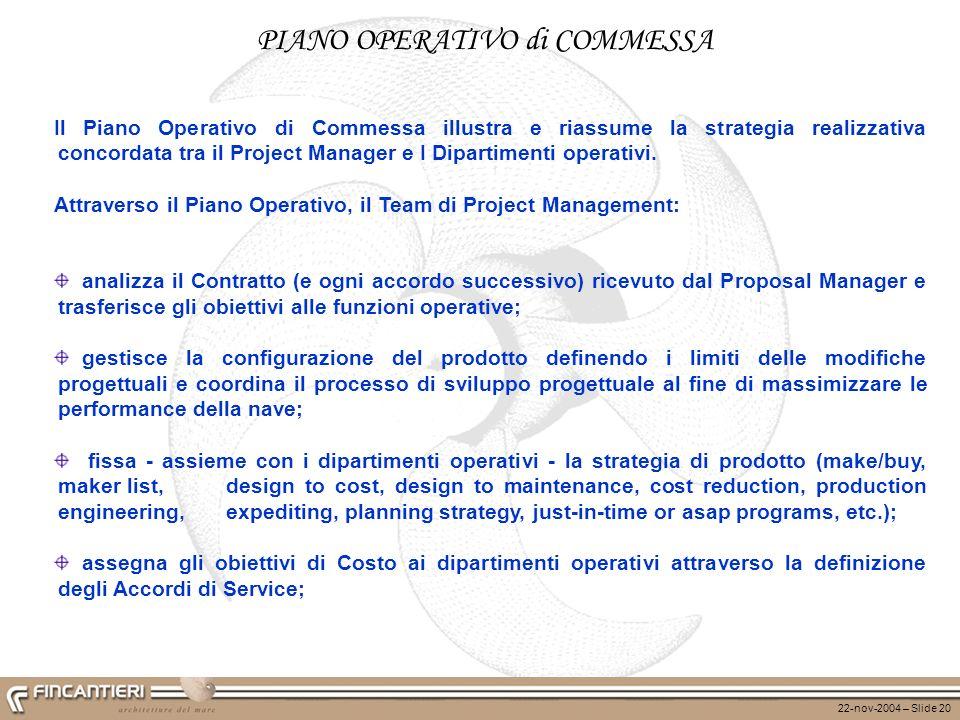 22-nov-2004 – Slide 20 Il Piano Operativo di Commessa illustra e riassume la strategia realizzativa concordata tra il Project Manager e I Dipartimenti